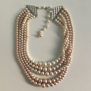 Vintage 1960's Ivory Faux Pearl Beaded Necklace